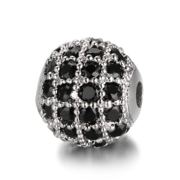 Cirkon köztes gyöngy. 8mm. Platina szín, fekete kristály.