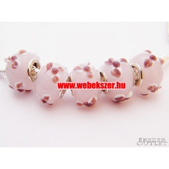 Pandora stílusú üveg gyöngy. Rózsaszín virág.  10db.
