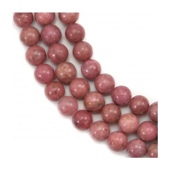 Pink rodonit ásványgyöngy. 8mm. 1 szál, kb. 40cm.