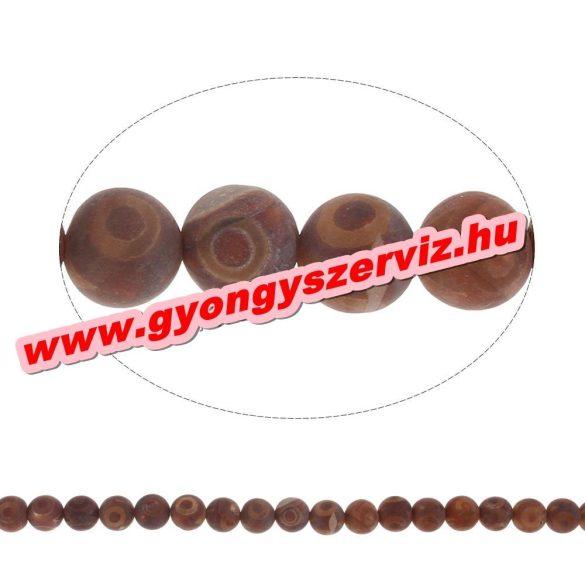 Tibeti achát ásványgyöngy . 8mm.  1 szál (40cm).