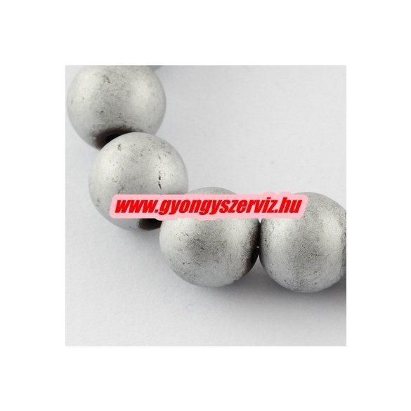Matt hematit ásványgyöngy. 8mm. Ezüst szín. 1 szál. (kb. 40cm)