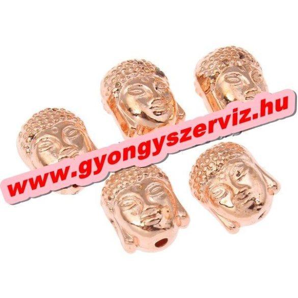 Buddha gyöngy, tibeti fém köztes gyöngy. Rózsaarany szín. 7.5x10x8mm. 10db.