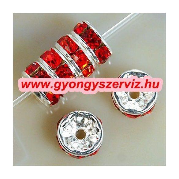 Strasszos fém köztes gyöngy. Rondell. Piros. 8x3.5mm. AAA.  20db/csomag.