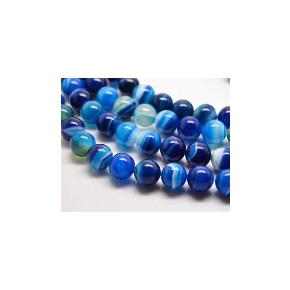 Kék csíkos achát ásványgyöngy. 4mm. 1 szál.