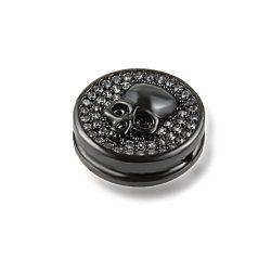 Cirkon kristályos, koponya köztes korong. Fekete szín. 13.4x5.5mm.