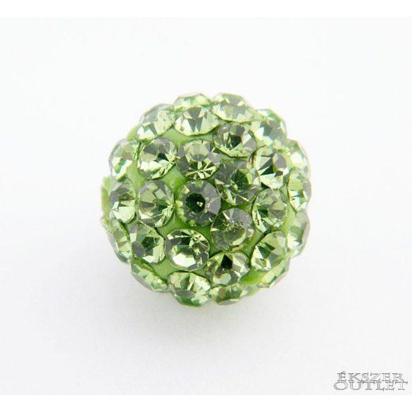 Shamballa gyöngy. 10 mm. Világoszöld.    10db.