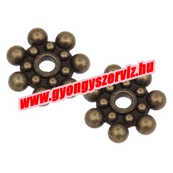 Korong. 8x2mm. Antik bronz szín. Fémgyöngy, köztes gyöngy. 100db.