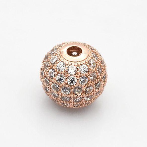 Cirkon köztes gyöngy. 8mm. Rózsaarany szín, fehér kristály.