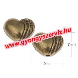 Szív. 9x7x5mm.  Antik bronz szín. Fémgyöngy, köztes gyöngy. 10db/csomag.