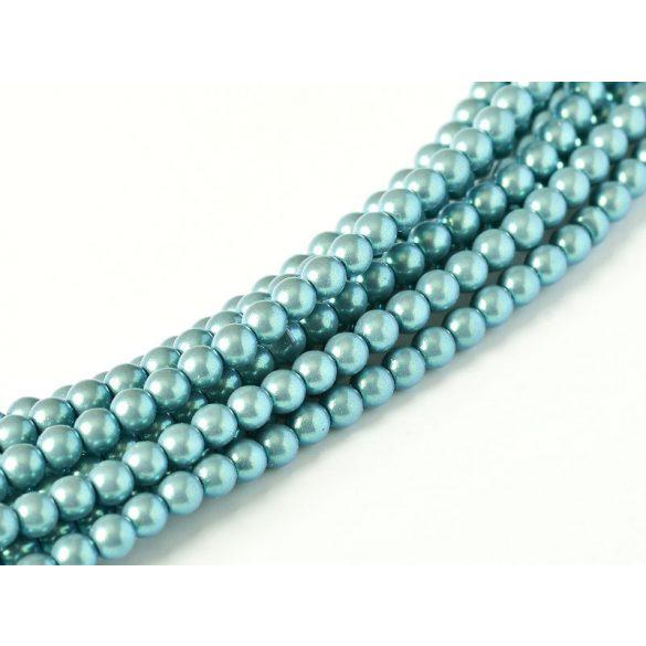 Cseh shell pearl tekla üveggyöngy. 6mm. Kékes. 100db/szál.