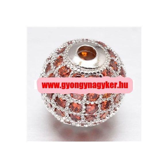 Cirkon köztes gyöngy. 8mm. Platina szín, narancs kristály.