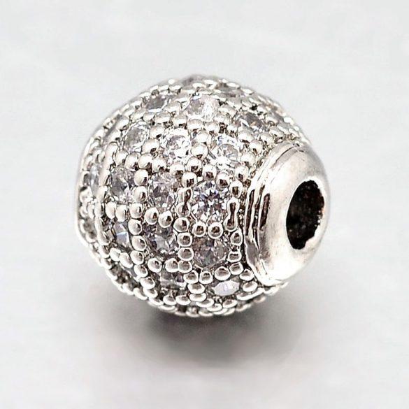 Cirkon köztes gyöngy. 8mm. platina szín,fehér kristály.