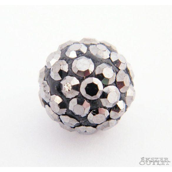 Shamballa  kristály gyöngy. 10 mm. Hematit. 10db.