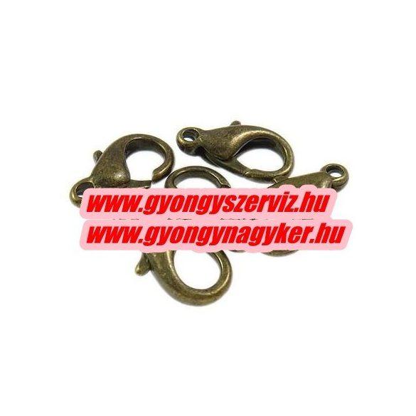 Delfinzár, ékszer kapocs. 14x8x4.5mm. Antik bronz szín.  20db.