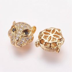Cirkon leopárd fej gyöngy. Arany szín, pezsgő színű szem.