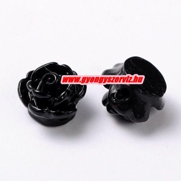Fűzhető gyanta virág kaboson. 9x7mm. Fekete. 10db.