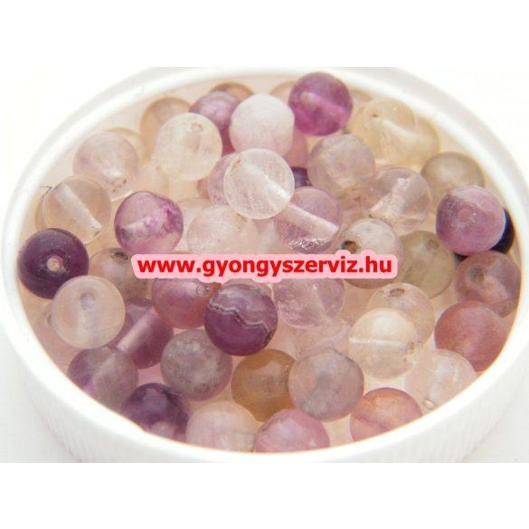 Ásványgyöngy, féldrágakő gyöngy. Fluorit. 8mm.  1 szál (kb. 40cm).