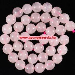 Ásványgyöngy, féldrágakő, ékszer gyöngy. Rózsakvarc. 12mm. 1 szál, kb. 40cm.