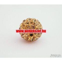 Shamballa gyöngy. Kristály gyöngy. 12mm. Arany.  10db.
