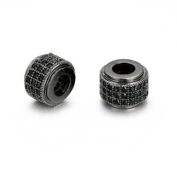 Cirkon köztes gyöngy. 9x6mm. Fekete szín, fekete kristály.