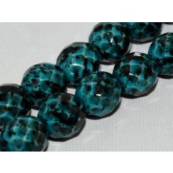 Cseh csiszolt gyöngy. 8mm. Kék, foltos. 20db/csomag.