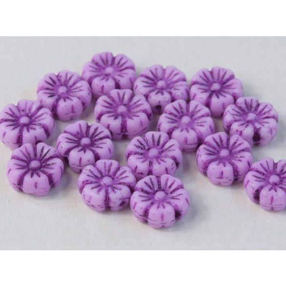 Cseh üveggyöngy. Virág. Viola. 10db/csomag. 9mm.