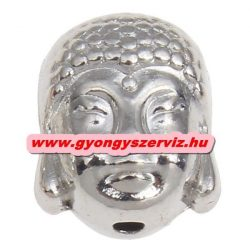 Buddha gyöngy, fém köztes gyöngy. Ezüst szín. 9x10x7.5mm. 10db.