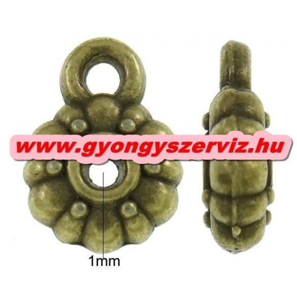 Charm tartó, medál tartó, köztes fémgyöngy. Antik bronz szín. 8x12x3mm.  10db.