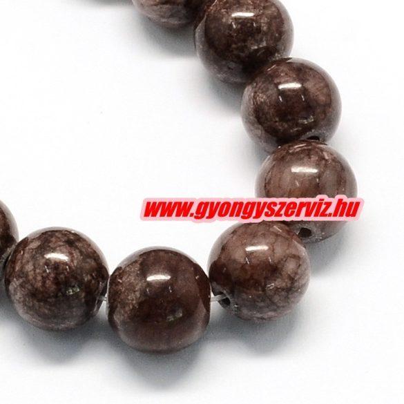 Jade ásványgyöngy. 8mm. Kókusz barna. 1 szál, kb. 40cm.