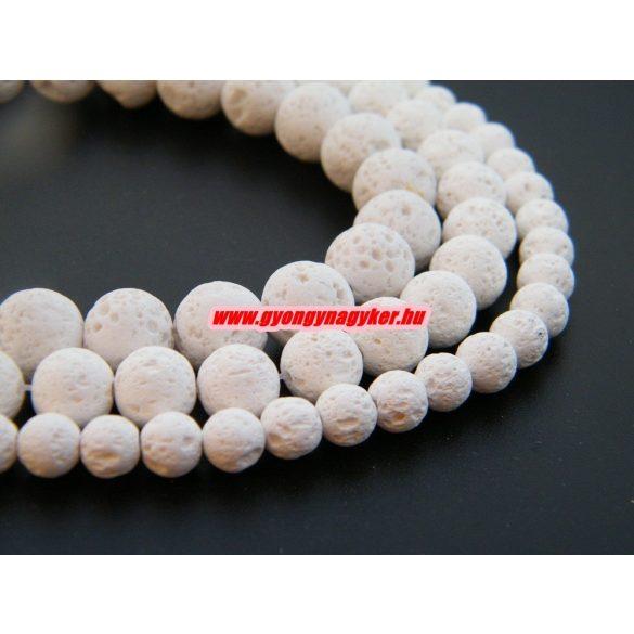 Lávakő gyöngy. Fehér. 6,8,10mm méretben. 1 szál. (kb. 40cm)