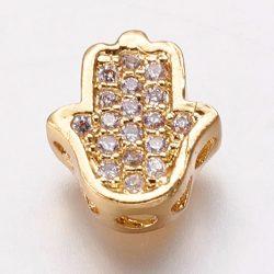Cirkon hamza kéz, köztes gyöngy. Arany szín, fehér kristály.