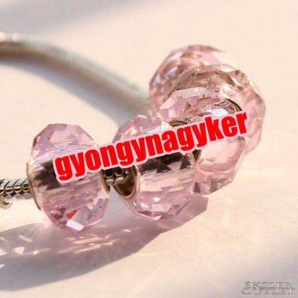 Pandora stílusú üveg gyöngy. csiszolt. Rózsaszín.  10 db/csomag.