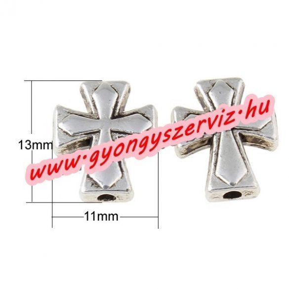 Kereszt Köztes gyöngy. 11x13x4mm. Antik ezüst szín.  10db.