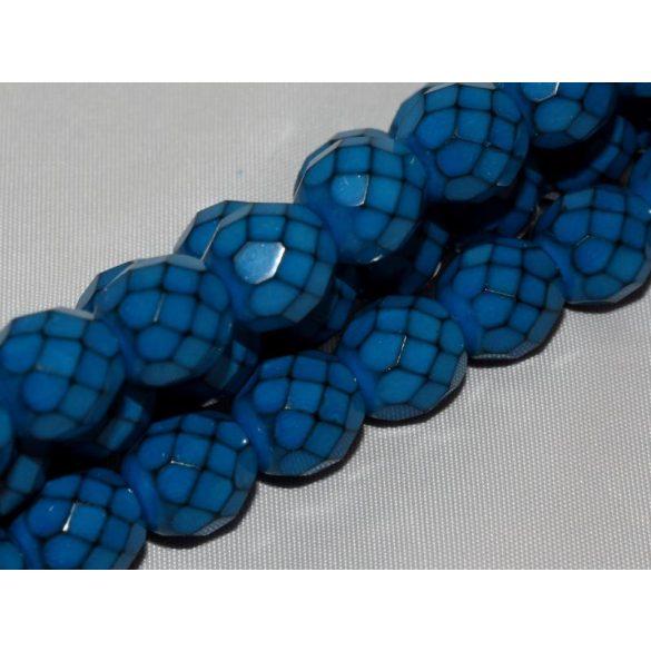 Cseh csiszolt gyöngy. 8mm. Kobalt, opál. 20db/csomag.