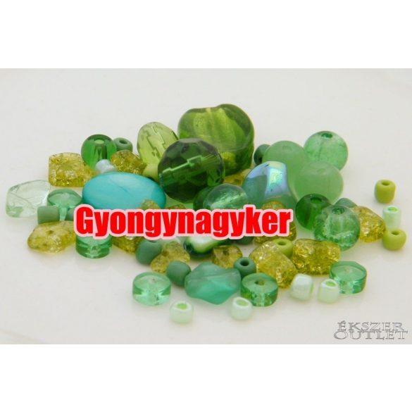 Vegyes gyöngy válogatás. Üveg, ásvány gyöngy mix. 20g. 8 szín!