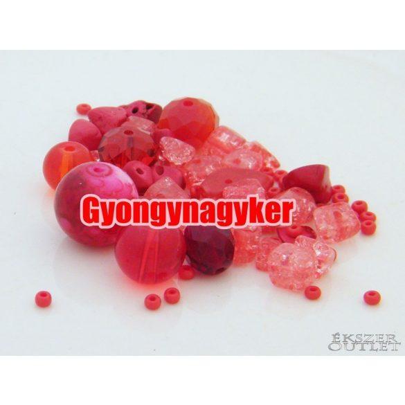 Vegyes gyöngy válogatás. Üveg, ásvány gyöngy mix. 50g/csomag. 8 szín!