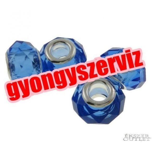 Pandora stílusú üveggyöngy. Csiszolt kristály. Kék.  10 db/csomag.