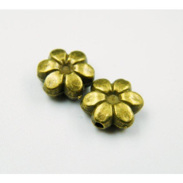 Virág köztes fémgyöngy. 9.5x9x4mm. Antik bronz szín.  10db/csomag.