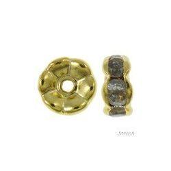Fémgyöngy. Fém köztes gyöngy. Rondell.  Arany szín. 7x3mm.   20db/csomag.