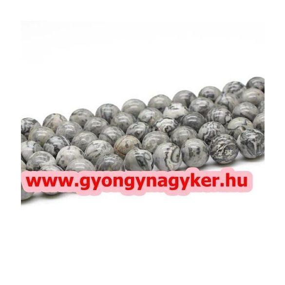 Szürke képjáspis ásványgyöngy. 10mm. 1 szál, kb. 40cm.