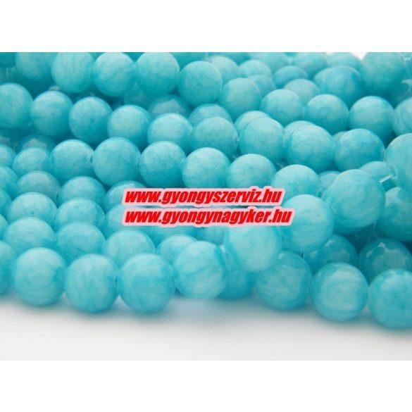 Jade ásványgyöngy. 6mm.  Kék. 1 szál, kb. 40cm.