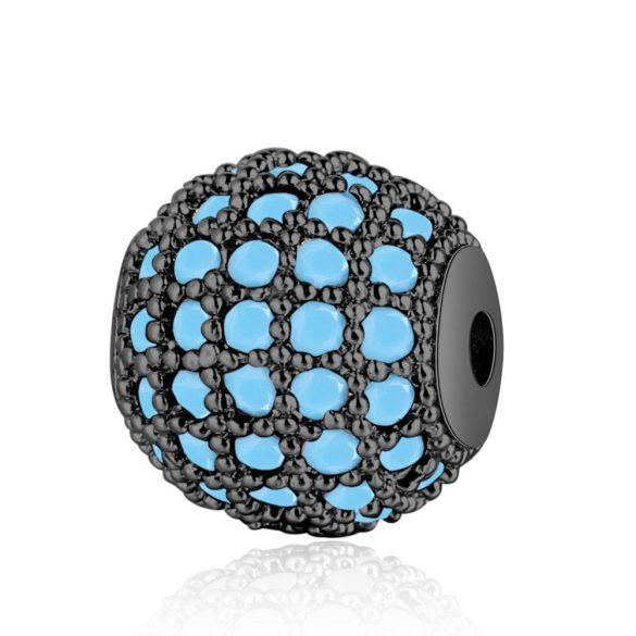 Cirkon köztes gyöngy. 8mm. Fekete szín, türkiz színű kristály.