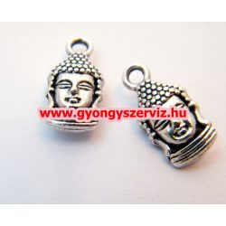 Buddha medál. Tibeti fém medál, fémgyöngy.  16x8mm. 10db.