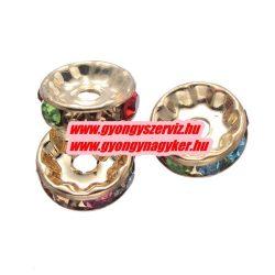 Rondell. Strasszos köztes gyöngy, rondella. 10x2mm. Arany, szívárvány. AAA.  20db/csomag.
