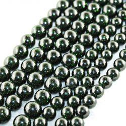 Ásványgyöngy, féldrágakő gyöngy. Zöld napkő.  10mm.  1 szál. (kb. 40cm)