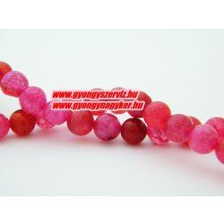 Roppantott pink achát ásványgyöngy. 8mm.  1 szál.