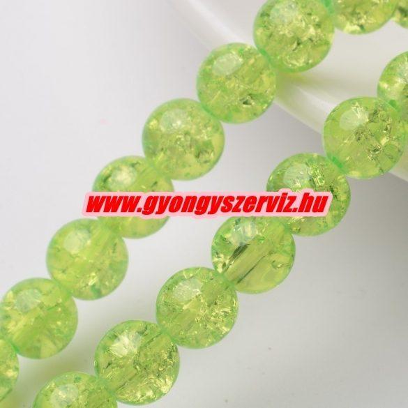 Roppantott üveggyöngy. 6mm, 8mm. Világos zöld. 100db/csomag.