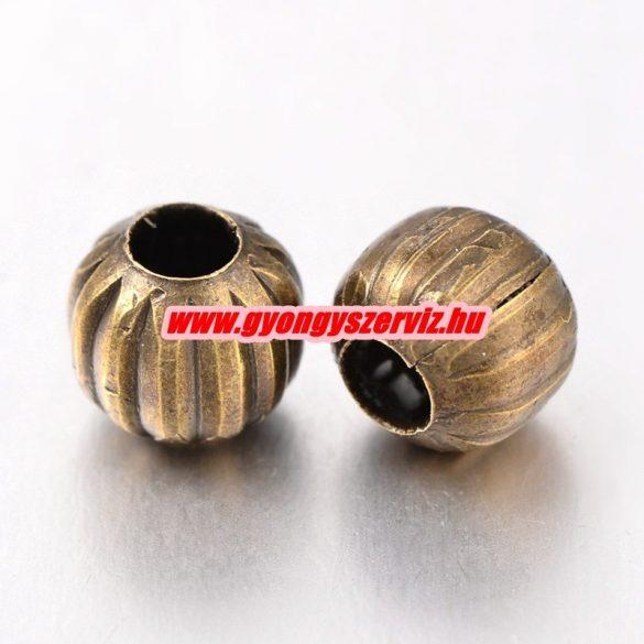 Fémgyöngy, filigrán gyöngy. 6mm. Antik bronz szín. 100db.