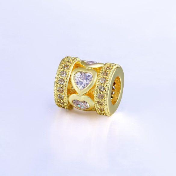 Cirkon kristályos köztes gyöngy. 9x8mm. Arany szín.
