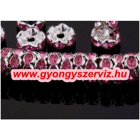 Strasszos kösztes gyöngy, rondell. 8 x3mm. Rózsaszín.  20db/csomag.